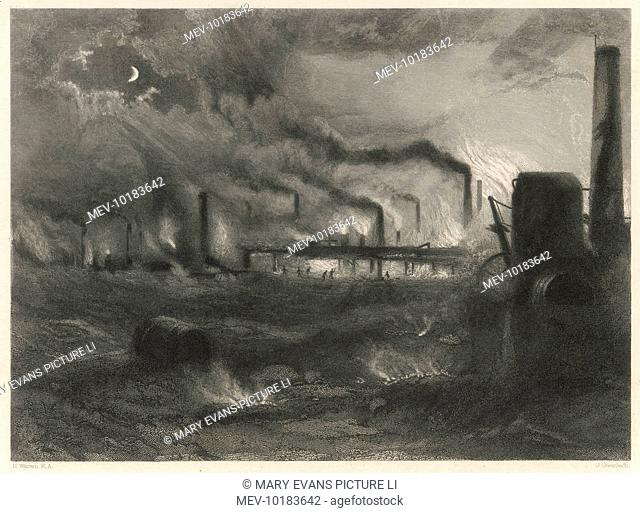 The sky at night is lit up by the foundries, furnaces and factories of the 'Black Country' - the region around Wolverhampton and Dudley in the west midlands of...