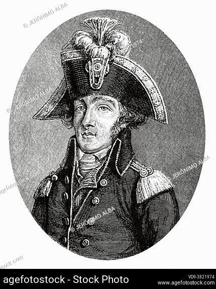 Portrait of Francois Hanriot (1761-1794) was a French Cordelier leader, a street orator, and a commander of the Garde Nationale during the French Revolution