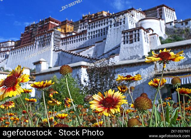 Potala palace, former Dalai Lama residence in Lhasa in Tibet. The Potala Palace is a dzong fortress in the city of Lhasa, in Tibet