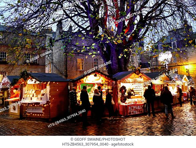 Festive stalls at Bath Christmas market