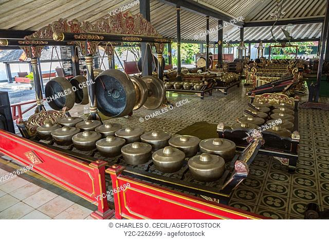 Yogyakarta, Java, Indonesia. Gongs in the Gamelan Orchestra at the Sultan's Palace