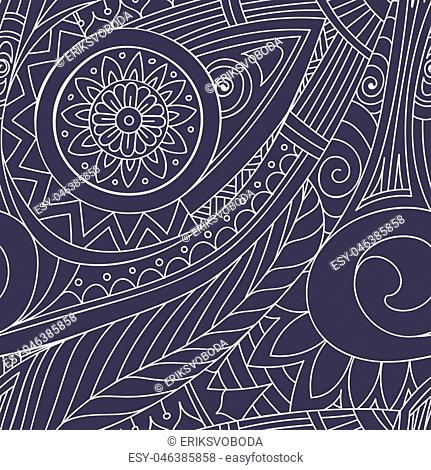 Hand-drawn doodles, seamless pattern. Tribal ethnic background. All elements are not cropped and hidden under mask, place the pattern on canvas and repeat
