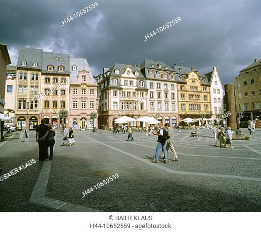 10652559, Germany, Europe, dark, clouds, weather, facades, houses, homes, Mainz, marketplace, pedestrian, passerby, place, Rhi