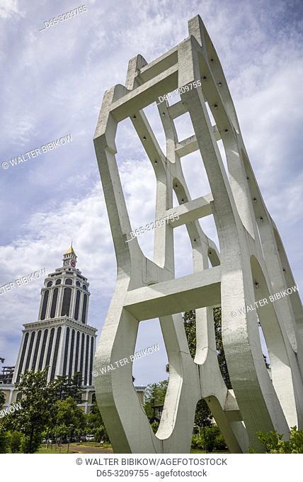 Georgia, Batumi, Batumi Boulevard, seaside promenade, geometric sculpture, NR, and Sheraton Hotel