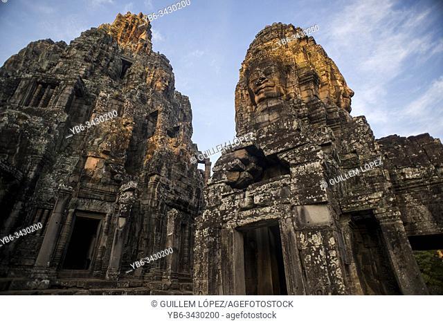 Stone heads at Bayon, Angkor Thom temple, Angkor Wat complex, Siem Reap, Cambodia