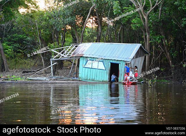 Floating house in Rio Negro near Manaus, Brazil