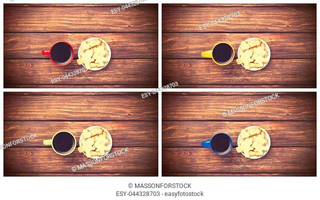 Coolage of four images with cup of coffee and cookie on wooden table. Above view