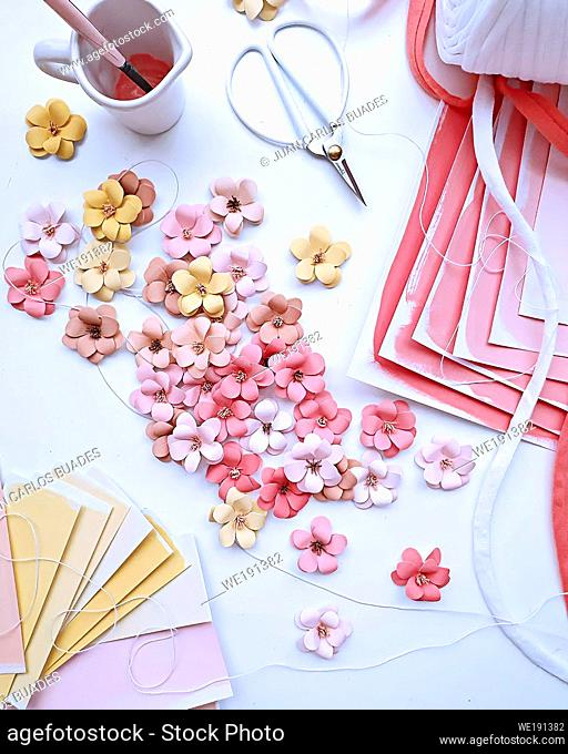 scrapping crafts with natural colors and accessories