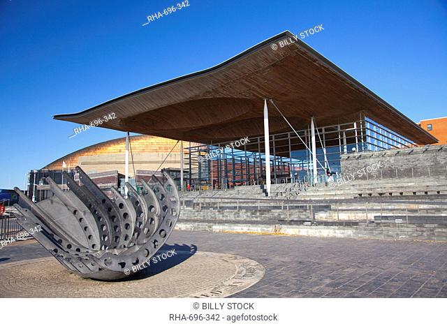 The Senedd Welsh National Assembly Building, Cardiff Bay, Cardiff, South Wales, Wales, United Kingdom, Europe