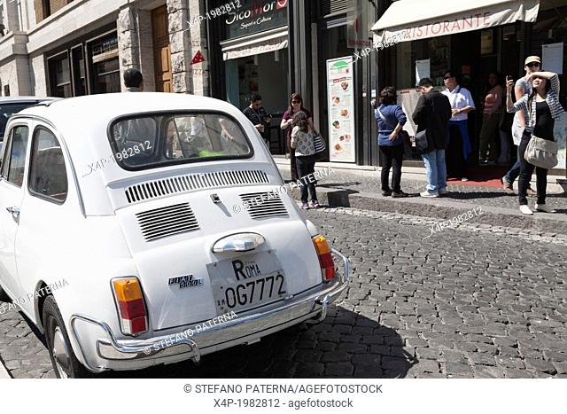 Fiat 500 with roman numberplate, Rome, Italy