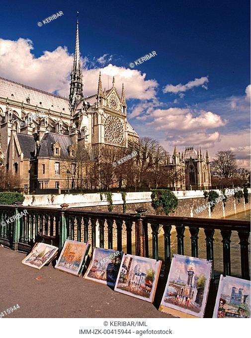 Sale of paintings near Notre Dame de Paris , Paris, France, Europe
