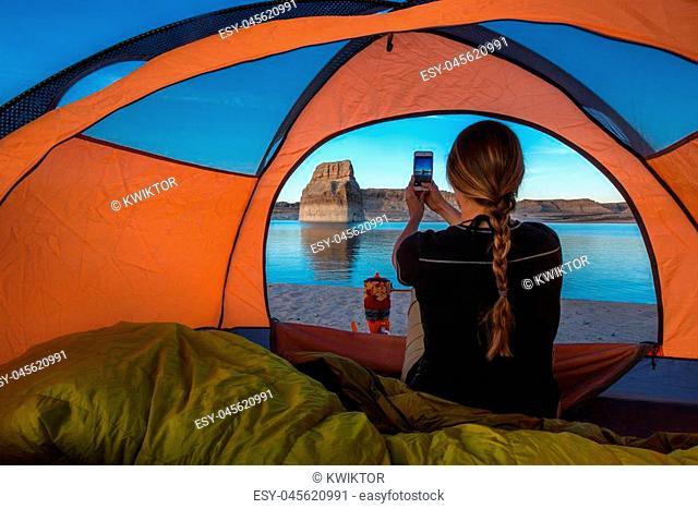 Tent Camping Lone Rock Campground Lake Powell Wahweap Bay Kane County Utah United States