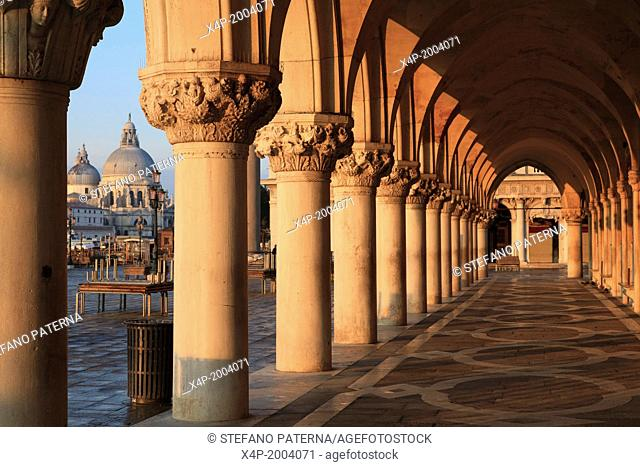 Arcades of the Doge's Palace at sunrise, Venice, Italy