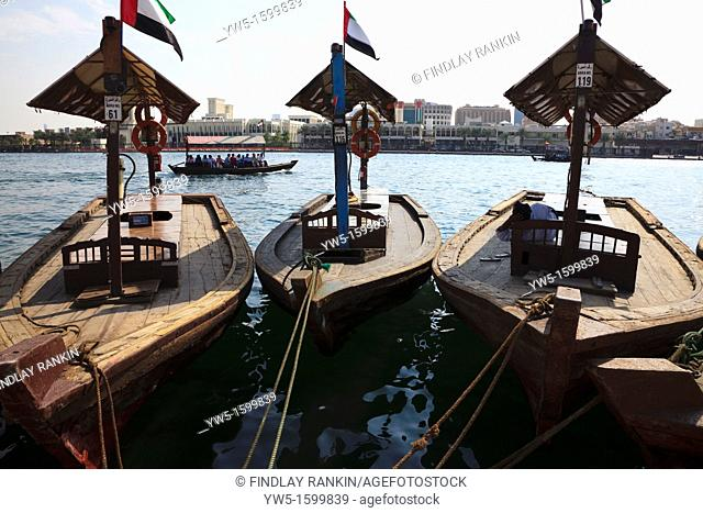 WaterTaxis, known as ABRAS, tied up at the harbour near the Old Town Souk The taxis are used to travel across The Creek, Dubai, UAE
