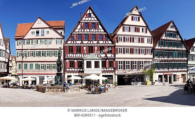 Well and timbered houses, market square, Tubingen, Baden-Württemberg, Germany