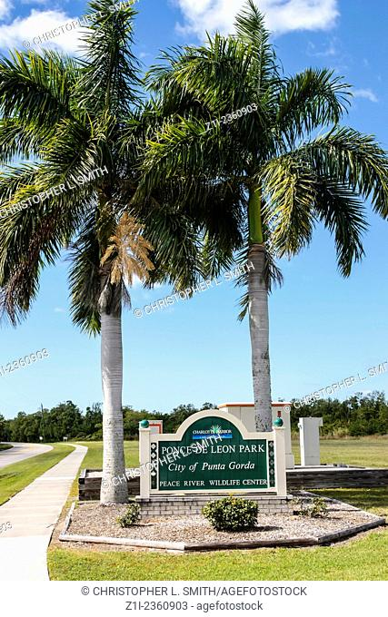 The entrance sign to Ponce De Leon Park in the city of Punta Gorda in Florida