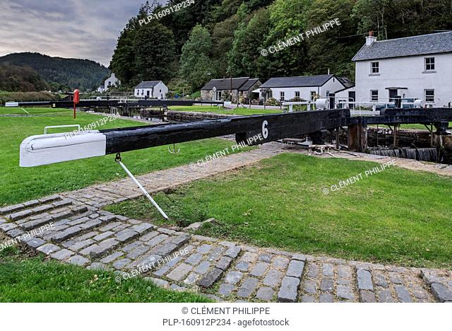 Locks at the village Cairnbaan situated on the Crinan Canal, Argyll and Bute, western Scotland