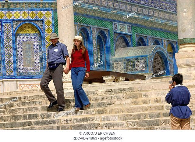 Tourists at Dome of the Rock Temple Mount old part of Jerusalem Israel