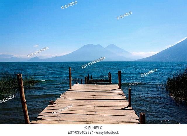 Lake Atitlan wooden pathway in San Marcos La Laguna Guatemala