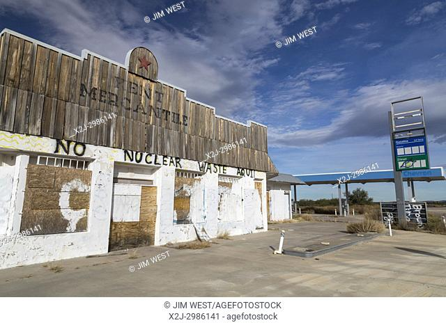 Kent, Texas - Graffiti on a closed gas station opposes a proposal for a high-level nuclear waste storage facility