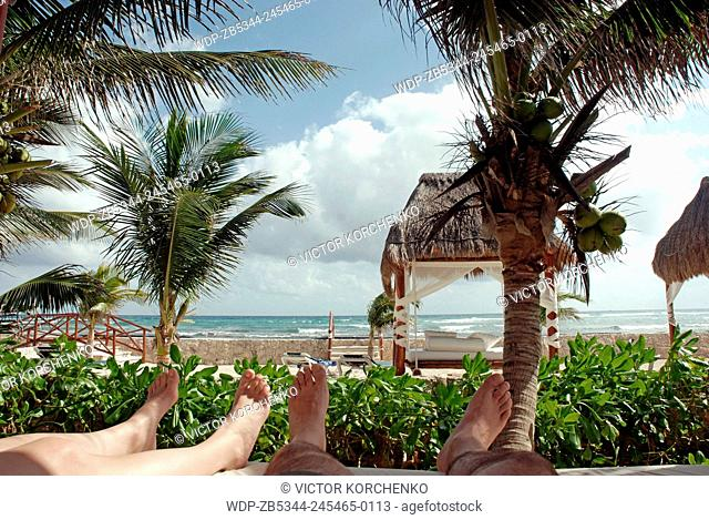 Relaxing in a resort at Riviera Maya near Cancun, Mexico