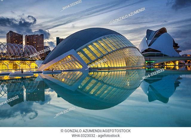 In the foreground Hemisferic. In the background Queen Sofia Arts Palace. . City of Arts and Sciences . Architect Santiago Calatrava. Valencia