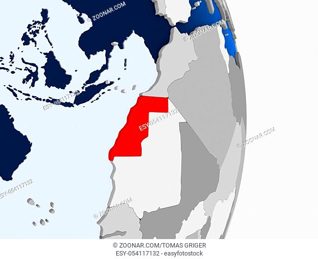 Western Sahara in red on model of political globe with transparent oceans. 3D illustration