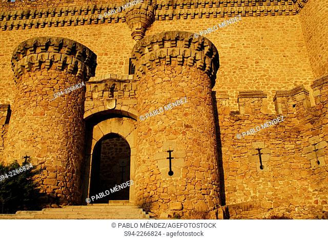 Entrance to the castle in Manzanares el Real, Madrid, Spain