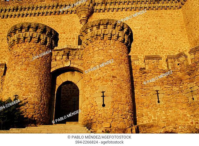 Entrance to the castle in Manzanares el Real, Madrid, Spain