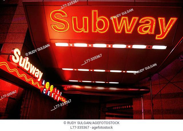 Subway entrance on Times Square. New York City, USA