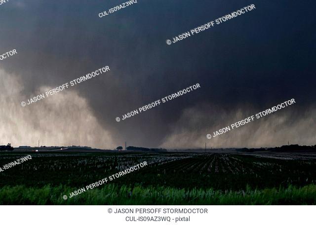 A violent, rain-wrapped wedge tornado rips up farmland in rural Kansas