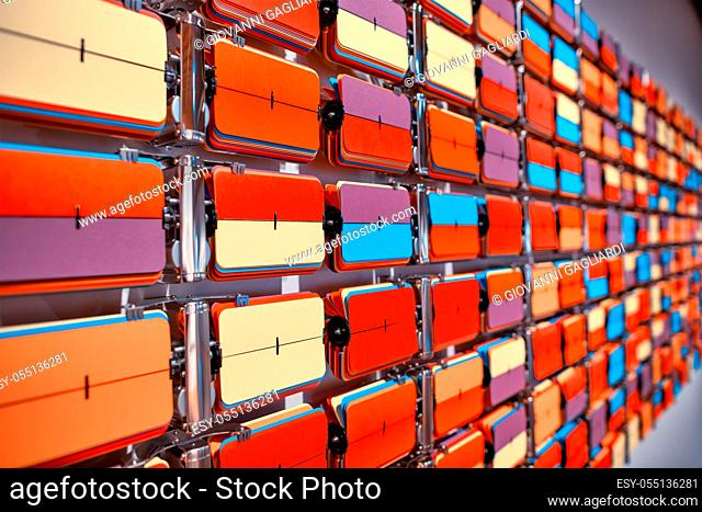 Giant multicolor board abstract texture. intersecting striped pattern. chromatic background. geometric checkered