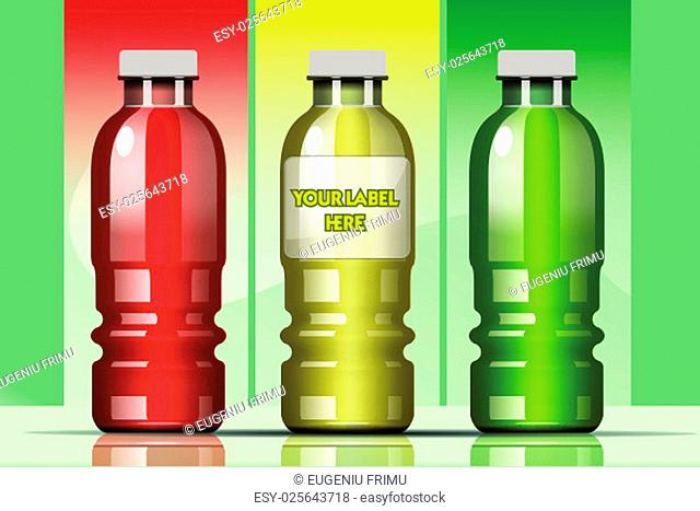 Vector set of transparent glass or plastic yellow, green and red liquid bottle with caps for juice mockup ready for your design