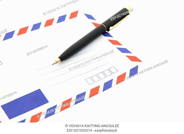 heap of isolated air mail envelope