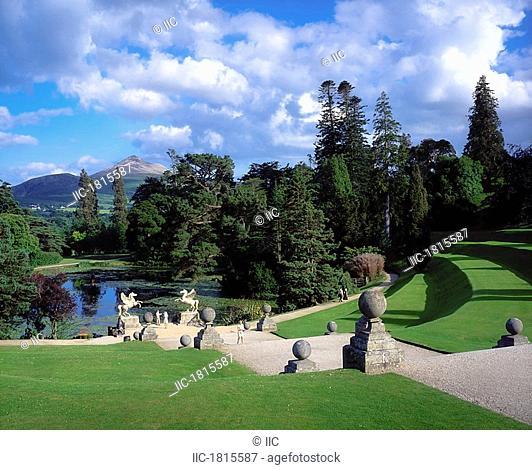 Powerscourt Estate, Powerscourt Gardens, Co Wicklow, Ireland, People walking the grounds at an estate