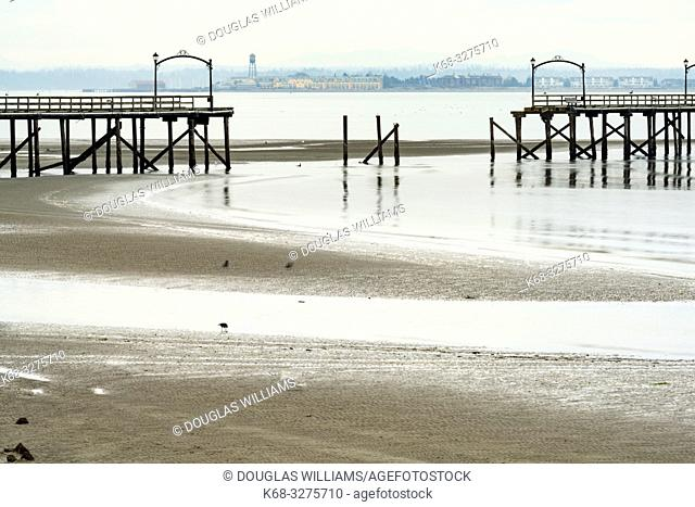 View from White Rock, of the White Rock pier, damaged in a storm, British Columbia, Canada