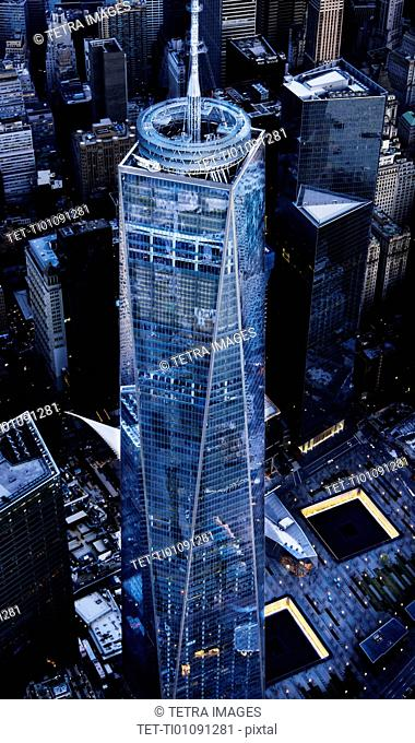 Aerial view of One World Trade Center