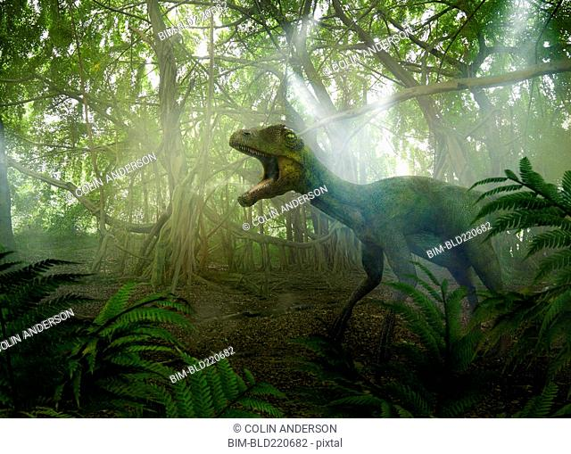 Dinosaur roaring in prehistoric jungle