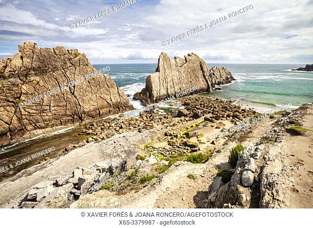 Arnia beach and Urros de Liencres, Liencres, Cantabria, Spain
