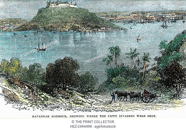 'Havannah Harbour, showing where the fifty invaders were shot', Cuba, c1880. Part of a revolt against Spanish colonial rule of Cuba