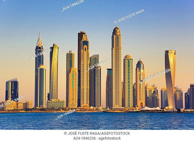 United Arab Emirates UAE , Dubai City ,Dubai Marina Skyline