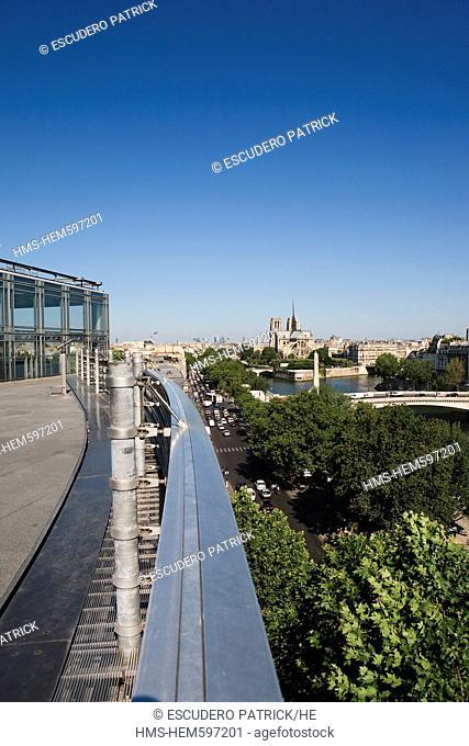 France, Paris, panorama from the Institut du Monde Arabe Arabic Institute by the architect Jean Nouvel and architecture studio over Notre Dame de Paris...