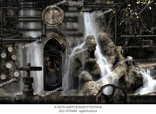 Photo Surrealism illustration, conceptual depiction of Hades or Purgatory, Steampunk underworld
