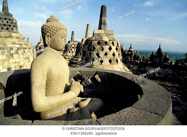 Buddha statue, Borobodur Temple, Java island, Greater Sunda Islands, Republic of Indonesia, Southeast Asia and Oceania