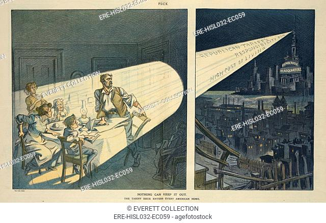 A Pro-Democratic 1912 Election year cartoon. It advocated tax reform through Tariff reduction claiming 'Republican Tariffs Responsible for the High Cost of...