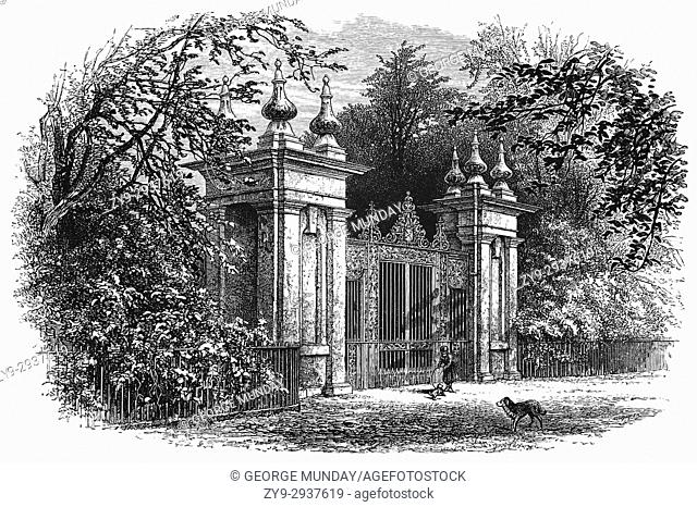 1870: The gates to Trinity College, possibly dates to the 1680s when formal parts of the garden were laid out, Oxford University, England