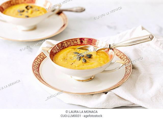Pumpkin and red lentils soup, Italy