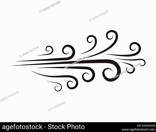 Wind icon. Blow, blast doodle. Blowing air hand-drawn clipart isolated on white. Spiral ornamental line. Curve symbol of flow dust