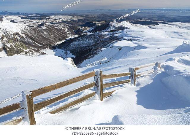 France, Puy de Dome (63), Besse-et-Saint-Anastaise, ski station of Super Besse, valley of Chaudefour and Puy de Champgourdeix viewed from Puy de la Perdrix
