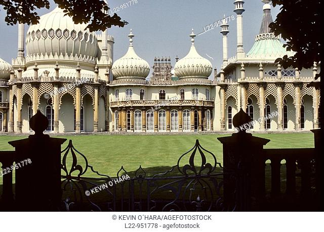 The Royal Pavilion is a former royal residence built in the early 19th century in the Indo-Saracenic style as a seaside retreat for the the Prince Regent